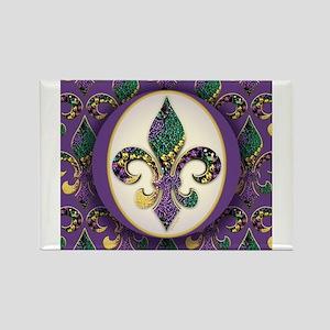 Fleur de lis Mardi Gras Beads Magnets