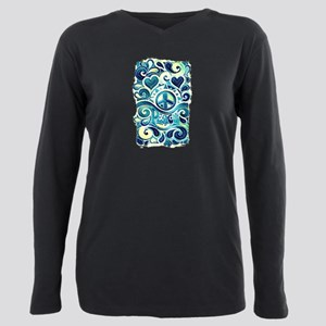 Colorful Hippie Art Plus Size Long Sleeve Tee