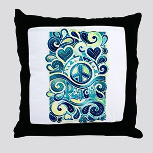 Colorful Hippie Art Throw Pillow