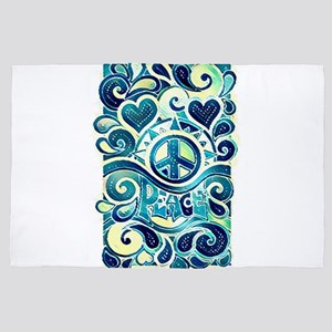Colorful Hippie Art 4' x 6' Rug