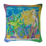 Mermaid Turtle Woven Throw Pillow
