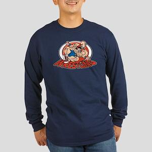 Grappling Wrestlers Long Sleeve Dark T-Shirt