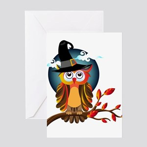 Halloween Witch Owl Greeting Cards