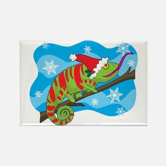 Christmas Chameleon Rectangle Magnet