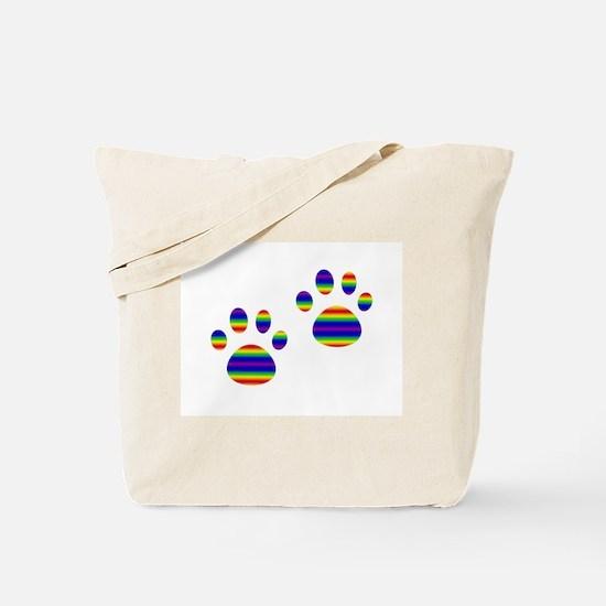 Rainbow Paws Tote Bag