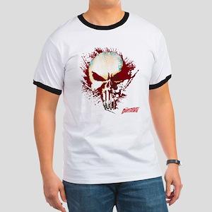 Punisher Skull Red Spatter Ringer T