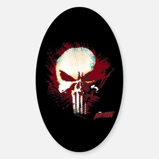 Punisher Skull Red Spatter Sticker (Oval)