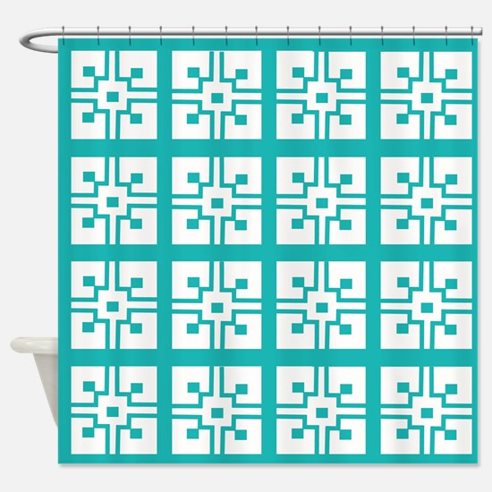 Teal Mexican Tile Shower Curtain