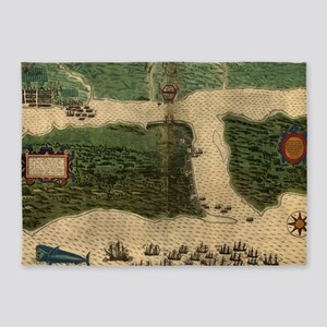 Vintage Map of St. Augustine Florid 5'x7'Area Rug