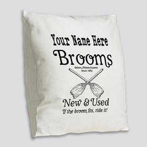 New & used Brooms Burlap Throw Pillow