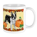 Boston Terrier Pumpkin Spice Design Mugs