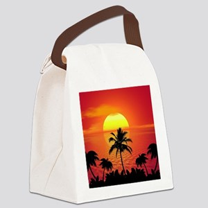 Tropical Sunset Holiday Canvas Lunch Bag