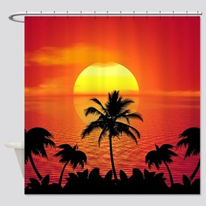 Tropical Sunset Holiday Shower Curtain