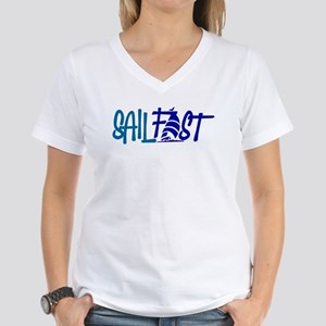 Sail Fast boat product for Women's V-Neck T-Shirt