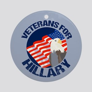 Veterans for Hillary Round Ornament