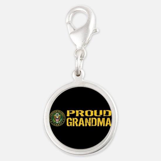 U.S. Army: Proud Grandma (Blac Silver Round Charm