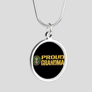 U.S. Army: Proud Grandma (Bl Silver Round Necklace