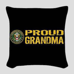 U.S. Army: Proud Grandma (Blac Woven Throw Pillow