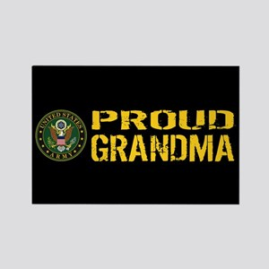 U.S. Army: Proud Grandma (Black & Rectangle Magnet