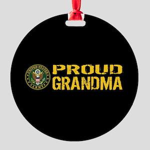 U.S. Army: Proud Grandma (Black & G Round Ornament