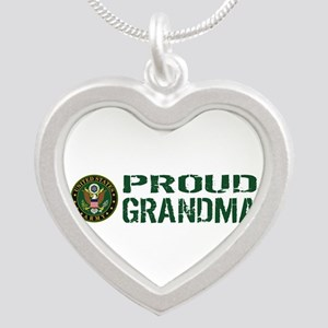 U.S. Army: Proud Grandma (Gr Silver Heart Necklace