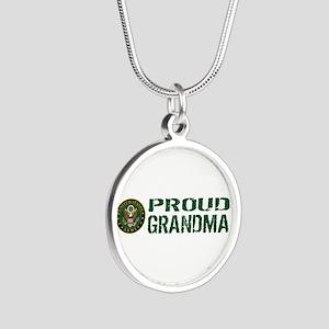 U.S. Army: Proud Grandma (Gr Silver Round Necklace