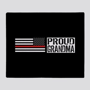 Firefighter: Proud Grandma (Black Fl Throw Blanket