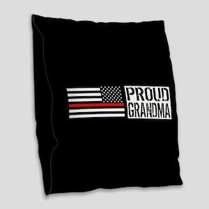 Firefighter: Proud Grandma (Bl Burlap Throw Pillow