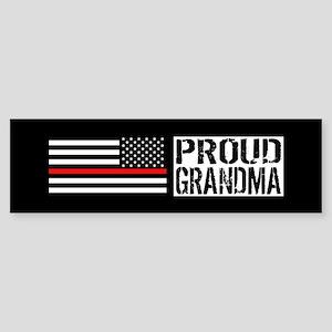 Firefighter: Proud Grandma (Black Sticker (Bumper)