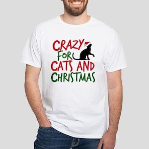 Christmas Cat White T-Shirt