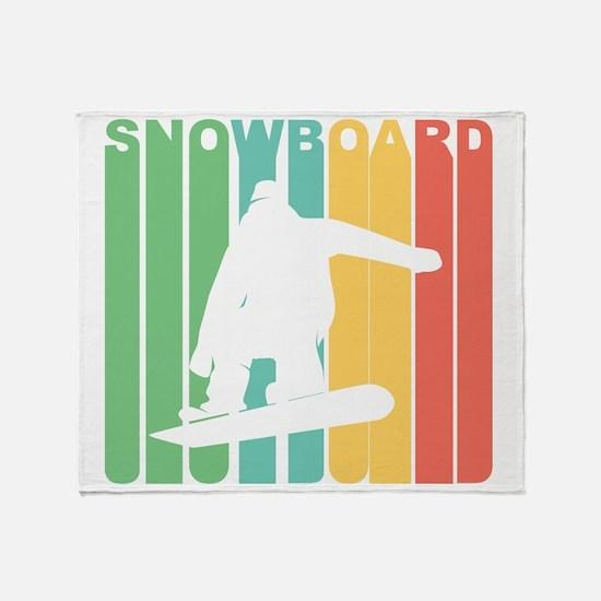 Retro Snowboard Throw Blanket