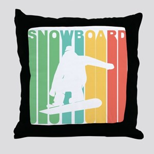 Retro Snowboard Throw Pillow