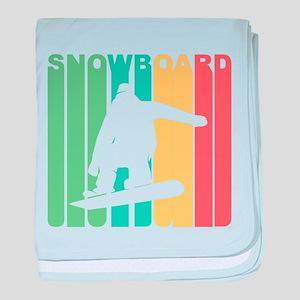Retro Snowboard baby blanket