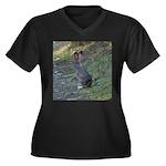 Black Tailed Jackrabbit Women's Plus Size V-Neck D