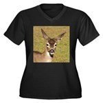 Young Doe Women's Plus Size V-Neck Dark T-Shirt
