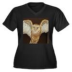 Barn Owl Women's Plus Size V-Neck Dark T-Shirt