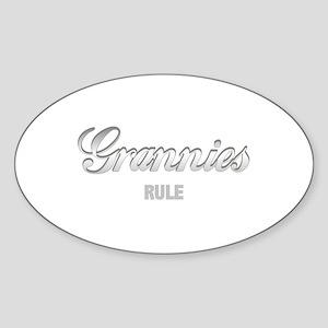 Grannies Rule Oval Sticker