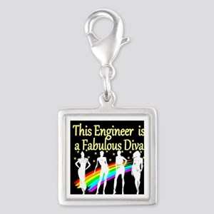 ENGINEER DIVA Silver Square Charm