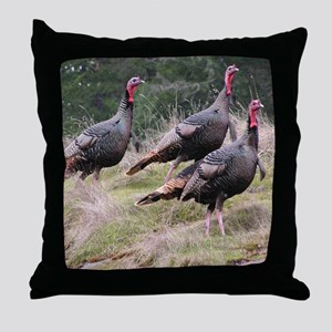 Three Tom Turkey Gobblers Throw Pillow