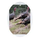 Three Tom Turkey Gobblers Oval Ornament