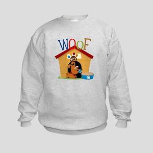 Woof Dog in Doghouse Kids Sweatshirt