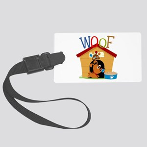 Woof Dog in Doghouse Large Luggage Tag