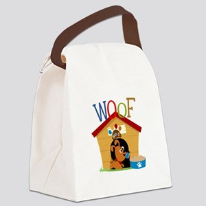 Woof Dog in Doghouse Canvas Lunch Bag