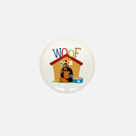 Woof Dog in Doghouse Mini Button