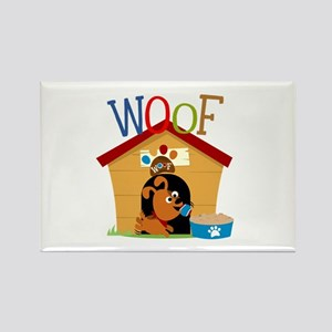 Woof Dog in Doghouse Rectangle Magnet