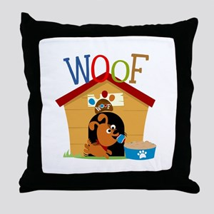 Woof Dog in Doghouse Throw Pillow