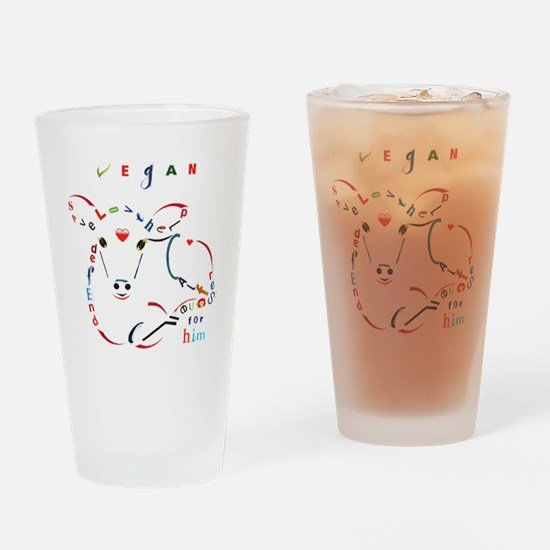 Cute Veganism Drinking Glass