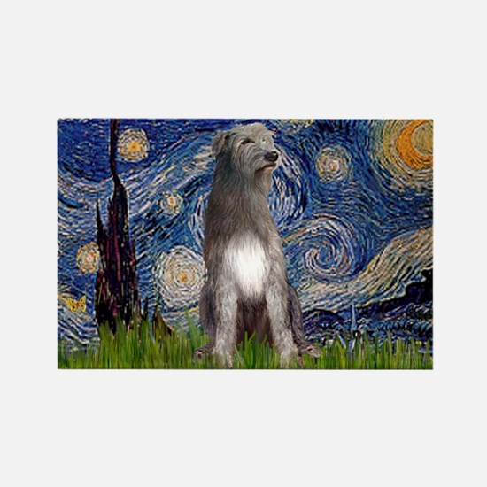 Starry/Irish Wolfhound Rectangle Magnet