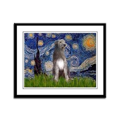 Starry/Irish Wolfhound Framed Panel Print
