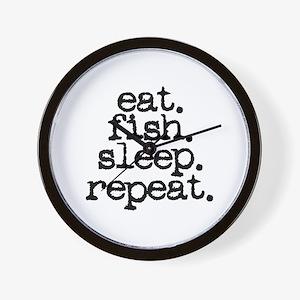 eat. fish. sleep. repeat. Wall Clock